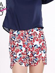 haoduoyi® Women's Floral Print Symmetric Hem High Waist Shorts