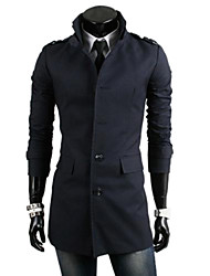 Men's Solid Casual / Work / Formal Jacket / Trench coat,Cotton / Polyester Long Sleeve-Black / Blue / Yellow