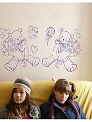 pegatinas de pared de tatuajes de pared, contemporáneas de rosa de pvc oso pegatinas de pared