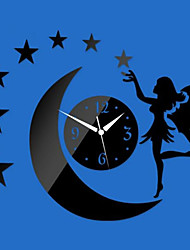 3D DIY Modern Style New Acrylic Angel Moon Stars Mirror Wall Clock