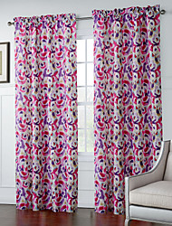 Two Panels  Nonobjective Pink Watercolor Pattern Curtain