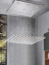 LED Crystal Chandeliers Lighting 9 Lights Modern Silver Square Canpoy Transparent K9 Crystal Hotel Fixtures