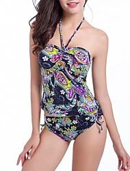 Women's Halter Tankinis , Floral Push-up Nylon/Spandex Multi-color
