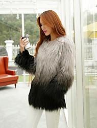 casaco de pele de moda festa de manga longa gola de pele falso / casaco casual