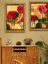 E-HOME® Framed Canvas Art, Red Flowers Framed Canvas Print Set of 2