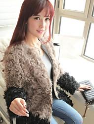 largo abrigo de pieles de corderos de lana abrigos de piel de la mujer