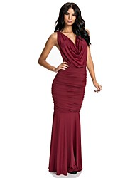 Women's Solid Red/Black Dress , Sexy/Bodycon/Party Cowl Sleeveless