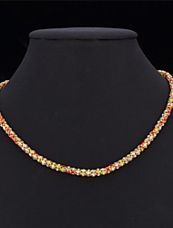 Fancy 18K Chunky Gold Plated Choker Necklace Chain Multicolor Rhinestone Crystal  for Women High Quality