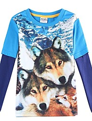Boy's T shirt Kids Long Sleeves T shirts 3D Wolf Printing Cartoon T shirt Boys T-shirt Children Tees