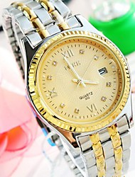 Men's Round Dial Single Calendar Steel Band Quartz Fashion Watch (Assorted Colors)