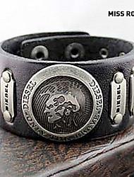 miss Rose ® punk 25cm mannen zwart leer met goud legering id armband (1 st)