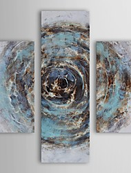 Oil Painting Modern Abstract Marble Blue Chasm Set of 3 Hand Painted Canvas with Stretched Frame