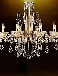 High-Grade Gold Wrought Iron  Crystal Chandelier 6 Lights