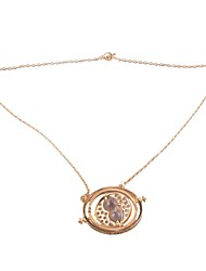 18K Gold Plating Film Theme Time Turner Necklace Neck Chain Clavicle Chain Jewelry (Golden)