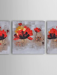 Oil Painting Modern Floral Dancing Red Lillies Set of 3 Hand Painted Canvas with Stretched Frame