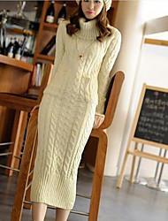 tricot mode pull laine longue robe des femmes (plus de couleurs)