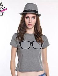 haoduoyi® Women's Vintage Sunglasses Print Slim Fitted Cute Round Collar T-Shirt