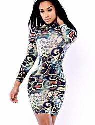 gola redonda moda chique das mulheres localizar imprimir vestido bodycon