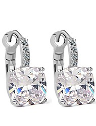 Unique Design 18K White Gold Plated CZ Statement Hoop Earrings Swiss AAA CZ Crystal Earrings