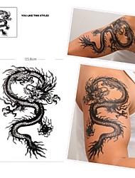 1 Pcs Waterproof  Black Figure Dragon Pattern  Tattoo Stickers