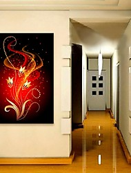 E-HOME® Stretched LED Canvas Print Art Red Flowers Flash Effect LED Flashing Optical Fiber Print