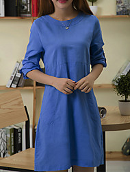 TS Round Neck Dress , Linen Above Knee Long Sleeve
