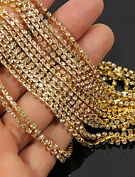 1PCS Tone Clear Crystal Rhinestone Chain Line 3D Alloy 3.5m Handmade DIY Craft Material(Assorted Color)