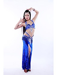 Belly Dance Stage Performance Beading Elegant Outfits-Set of 3 Including Top, Belt and Skirt (More Colors)