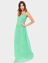 Women's Solid Green/Purple Dress , Party V Neck Sleeveless Backless