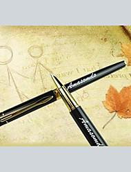 caixa de couro presente personalizado definido com caneta gel de aço inoxidável (preto ou ouro)