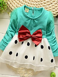 Girl's Dress,Cotton Blend Winter / Spring / Fall Blue / Green / Pink
