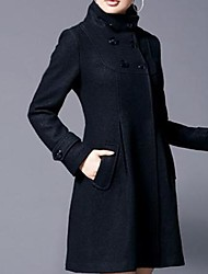 Women's Blue/Black/Gray Trench Coat/Coat , Casual/Work Long Sleeve Polyester/Wool Blends