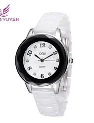 GEDI® Luxury Brand Women Watches White Real Ceramic Band Rhinestone Round Dial Quartz Watches Women