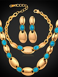 Fancy New 18K Real Gold Plated Turquoise Stone Bridal Jewelry Set for Women Match Gift Box High Quality