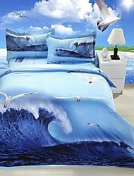 Four Piece 3D Canvas Ocean Print Duvet Set