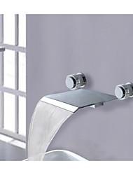 Two Handles Widespread Waterfall Bathroom Vessel Sink Faucet Bathtub Mixer Taps Roman Lavatory Faucet(R-2006A001)