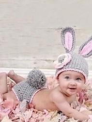 1 pcs foto do bebê prop coelho cinzento crochet da criança recém nascida design animal gorro de malha fotografia traje 0-4 mês