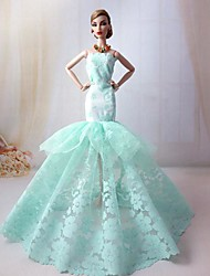 Barbie Doll Light Green Evening Party Dress Wind Flowers