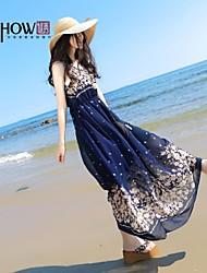 bohème collier modèle foloral de style mousseline sans manches robe de plage mince de MiShow