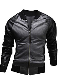 Men's Casual Gray Black Jacket, Long Sleeve Fabric Stitching