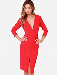 European Fashion col V à manches longues de couleur unie robe de Kakani femmes