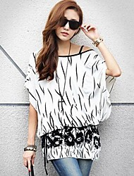 Women's Casual/Daily Simple Spring / Summer Blouse,Print Slash Neck ½ Length Sleeve White Medium
