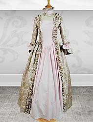 manga larga hasta los pies vestido de gothic lolita algodón de oro