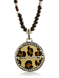 Euramerican Fashion Dermal Leopard with Precious Stones Leather Necklace(1 pc)