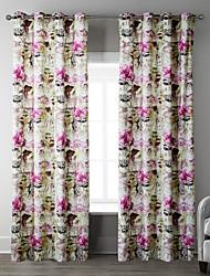 (Two Panels) Light Pink Hydrangea Pattern Curtain