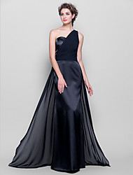 Sheath / Column One Shoulder Floor Length Chiffon Stretch Satin Bridesmaid Dress with Sash / Ribbon Side Draping Ruching byLAN TING