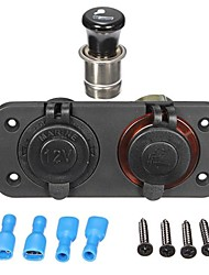 Cigarette Lighter 2 Way Socket Adapter Splitter Plug Motorcycle Car