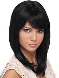 Short Straight Natural Black Human Hair Wig with Side Bang Temperament and Realistic