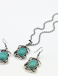 Toonykelly Vintage Antique Silver Turquoise Stone Bead(Earring and Necklace) Jewelry Set