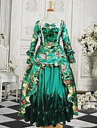 Long Sleeve Floor-length Green Cotton Gothic Lolita Dress